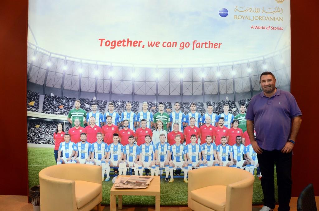En el stand de Royal Jordanian, patrocinador oficial del C.D.Leganés.