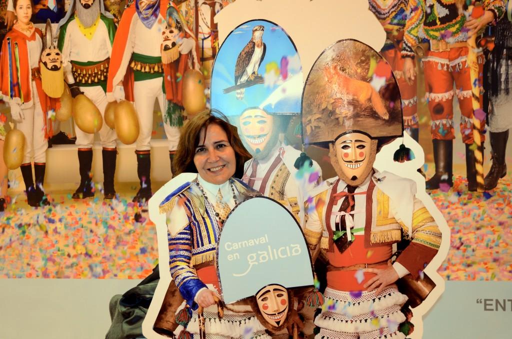 Mascaradas en el stand de Galicia para promocionar su carnaval
