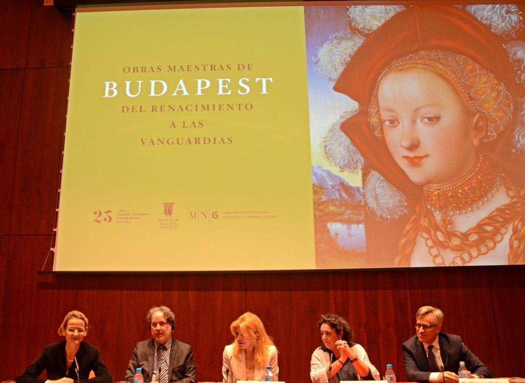 "Presentación de la exposición ""Obras Maestras de Budapest"". De Izquierda a derecha Enikő Győri, László Baán, Baronesa Carmen Thyssen-Bornemisza, Mar Borobia y Guillermo Solana."